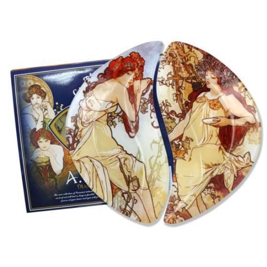 H.C.198-7025 Üveg tányérszett 2 részes 21x12cm,Mucha:Nyár,Ősz