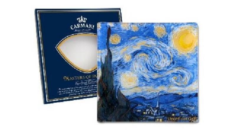 H.C.198-7310 Üvegtányér 13x13cm,Van Gogh:Csillagos éj