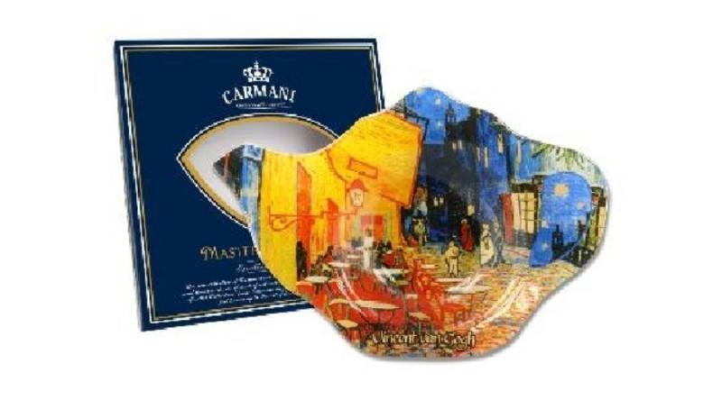 H.C.198-9309 Üveg teafiltertartó 14x9cm,Van Gogh:Kávéház éjjel