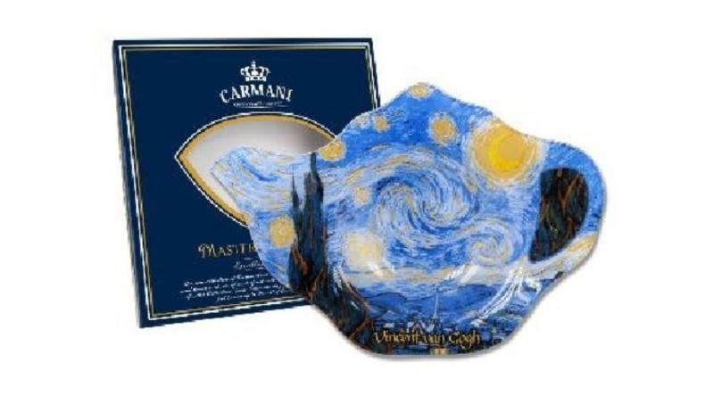 H.C.198-9310 Üveg teafiltertartó 14x9cm,Van Gogh:Csillagos éj