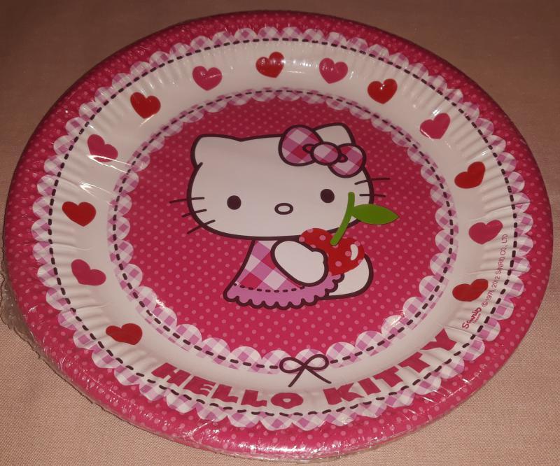 Hello Kitty Cherry papírtányér, 23 cm, 8 cm,