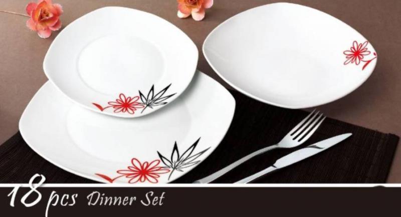 Homefavour 18 részes, piros-fekete virágos porcelán étkészlet, 247008