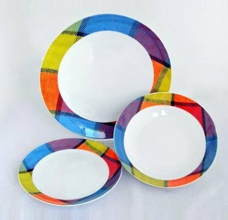 Homefavour kerek kockás porcelán étkészlet, 18 részes, kerek kockás, 251001
