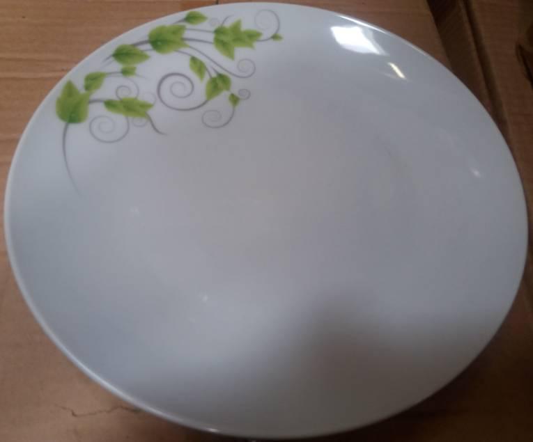 Homefavour kerek, zöld leveles porcelán étkészlet, 18 részes,  247012