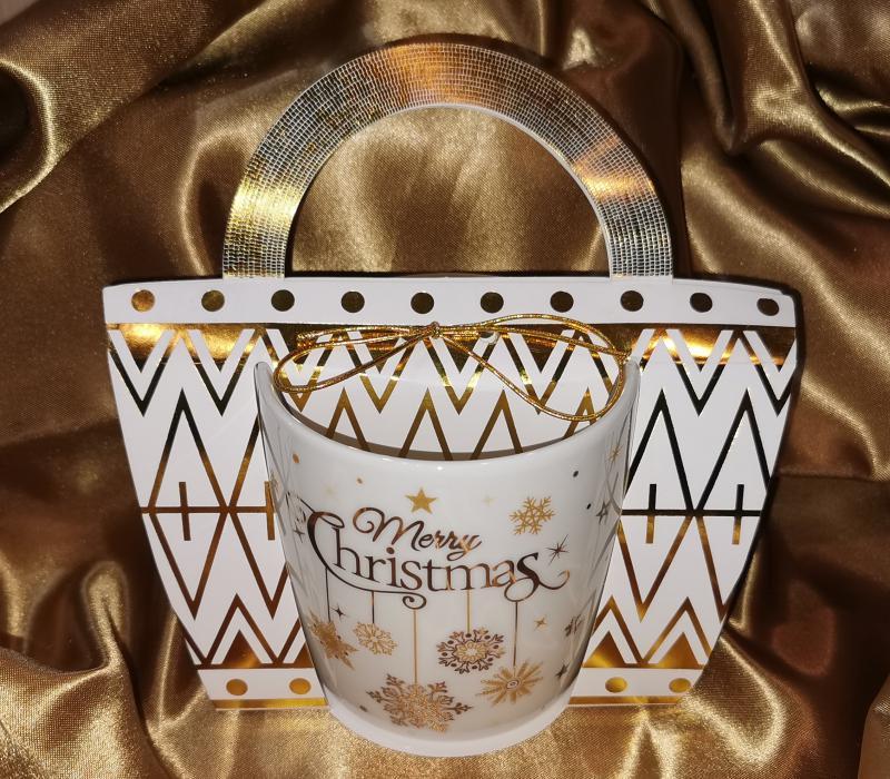 Karácsonyi porcelán bögre arany szarvas díszítéssel, 38 cl, 1 db, 243087szarvas