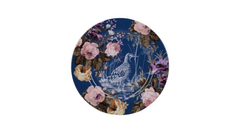 K.C.5234510 Porcelán desszerttányér 190x15x190mm,Navy Birds,Wild Apricity, Katie Alice