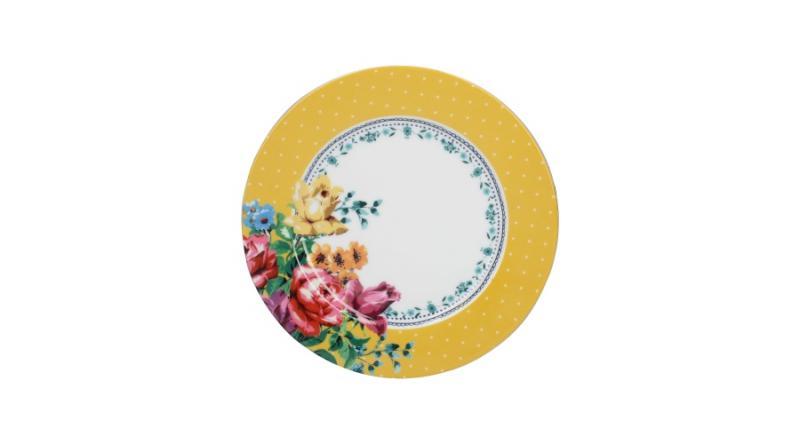 K.C.C000110 Porcelán desszerttányér 190x15x190mm,Bohemian Spirit:Mustard spot,Katie Alice