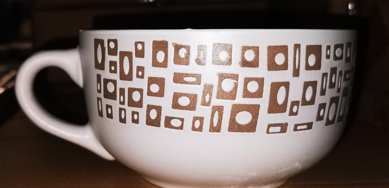 Kő kerámia jumbo bögre, natúr kockás, 90 cl, 240022