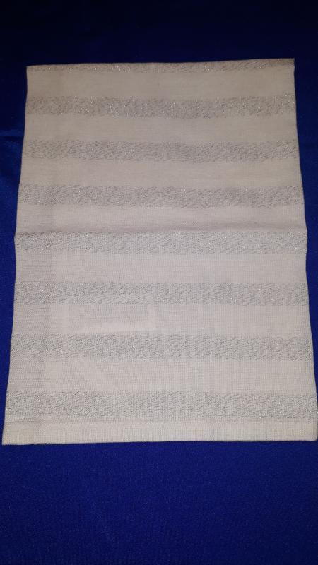 Konyharuha, fehér-ezüst csíkos, 1 db, 50X70 cm, P019