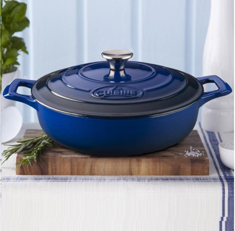 La Cuisine Blue kék kerek öntöttvas sütőtál+fedő, 28X8 cm, 3,5 liter