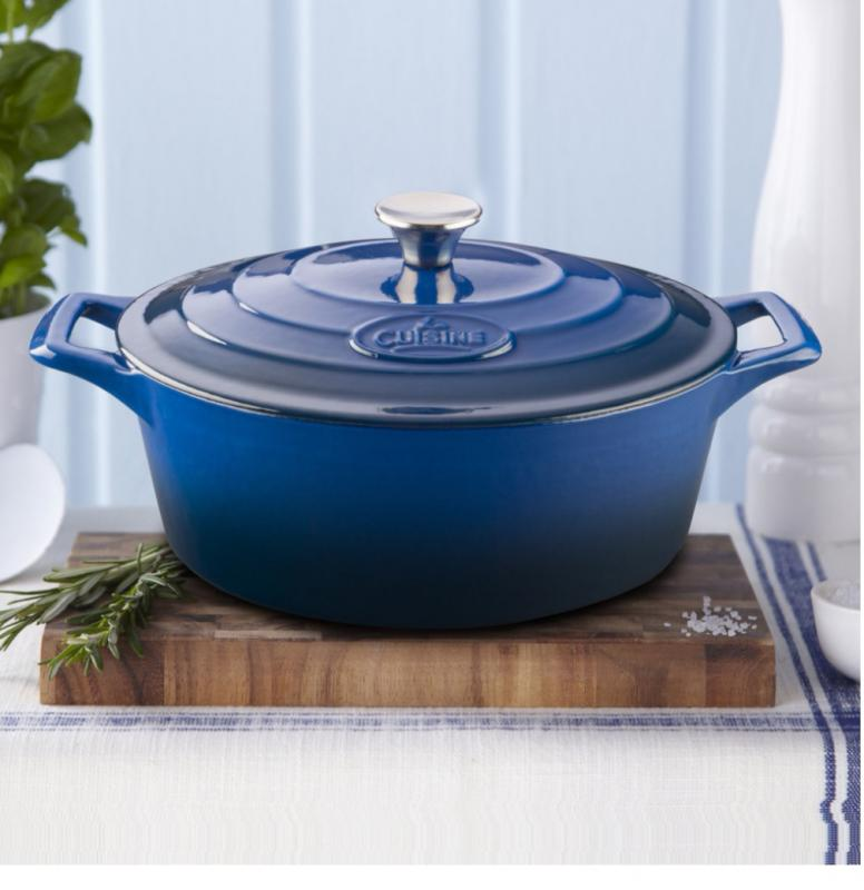 La Cuisine Blue kék öntöttvas ovál sütőtál+fedő, 29X23X11 cm, 4,75 liter