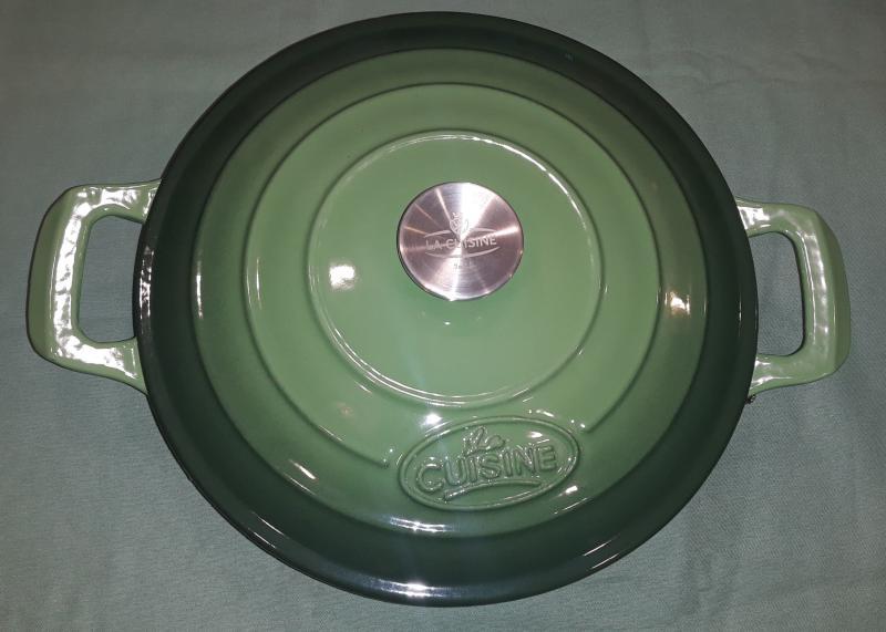 La Cuisine GREEN öntöttvas kerek sütőtál fedővel két füllel, 28 cm, 3,5 liter, 432004