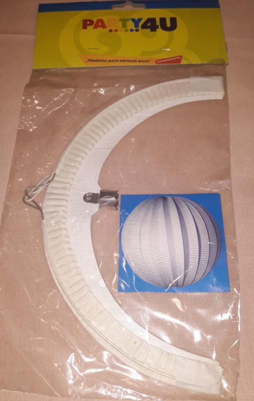 Lampion, kerek, fehér, 25 cm, 1 db