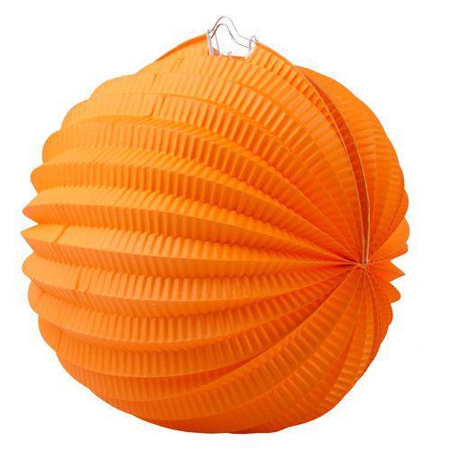 Lampion, kerek, narancsszínű, 22 cm, 1 db