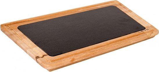 LAVA öntöttvas sütőlap+fa szervírozó, 30X40 cm, 290047