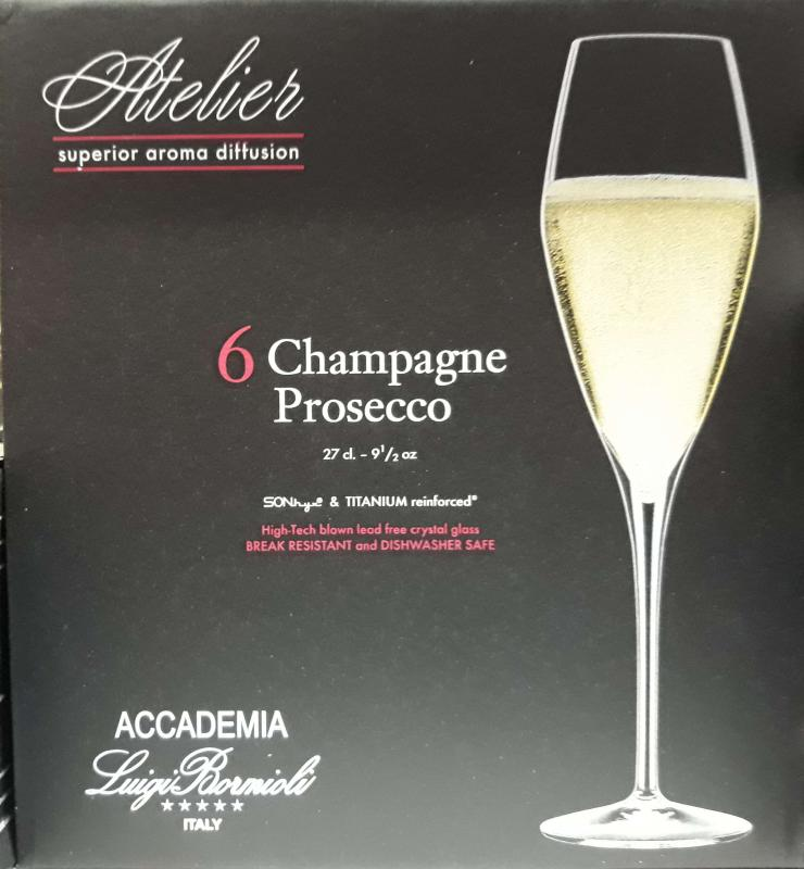 Luigi Bormioli Atelier Champagne Prosecco pezsgős pohár, 27 cl, 6 db, 198089