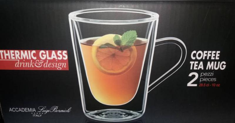 LUIGI BORMIOLI DUOS dupla falú bögre, Coffee tea mug, 29,5 cl, 2 db, 198010