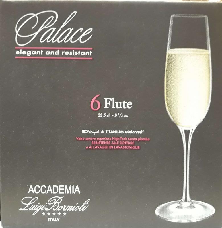 Luigi Bormioli Palace Flute talpas pezsgős flőte, 23,5 cl, 6 db, 198215