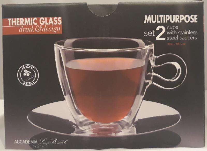 LUIGI BORMIOLI THERMIC GLASS teás csésze+rozsdam.alj, MULTIPURPOSE,  2 db, 3dl, 198153
