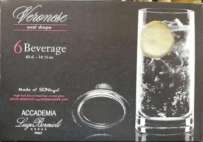 LUIGI BORMIOLI VERONESE Beverage ovális üdítős pohár, 43 cl, 6 db, 198138