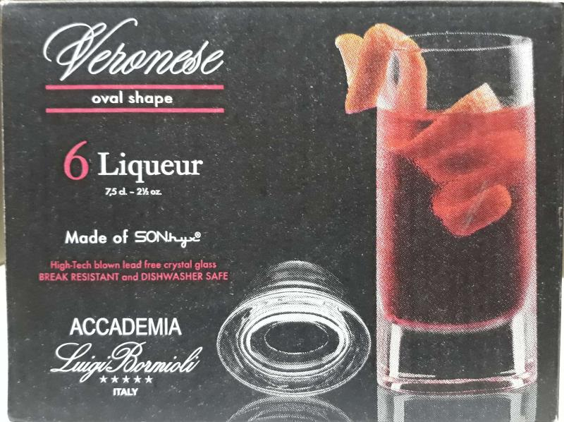 LUIGI BORMIOLI VERONESE ovális likőrös pohár, 7,5 cl, 6 db, 198173