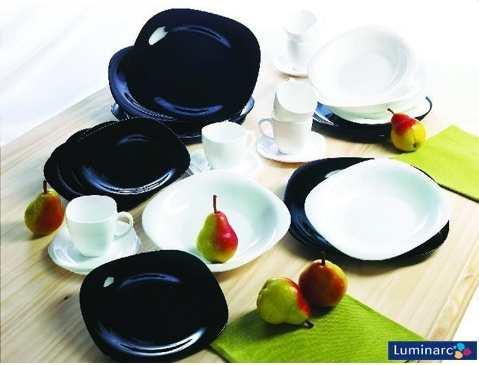 LUMINARC CARINE étkészlet, fekete-fehér, 30 részes, 500030