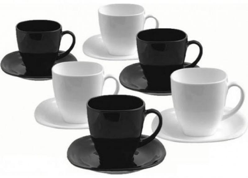 LUMINARC CARINE fekete-fehér teás készlet, 22 cl, 6 db, 502633
