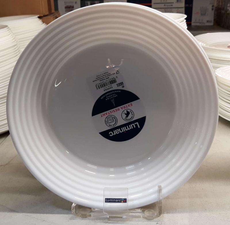 Luminarc Harena fehér mély tányér, 23 cm, üveg, 1 db