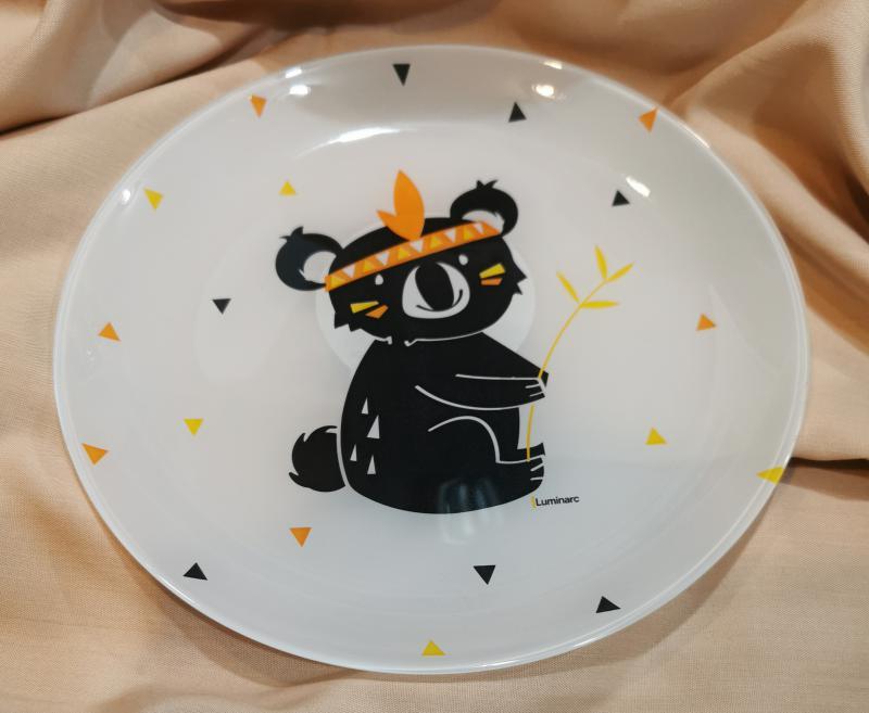 Luminarc Kotipi indián koalamacis üveg desszert tányér (fehér üveg+minta), 20,5 cm,