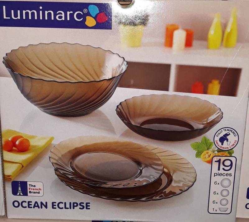 Luminarc Ocean Eclipse 19 részes füstszínű étkészlet,