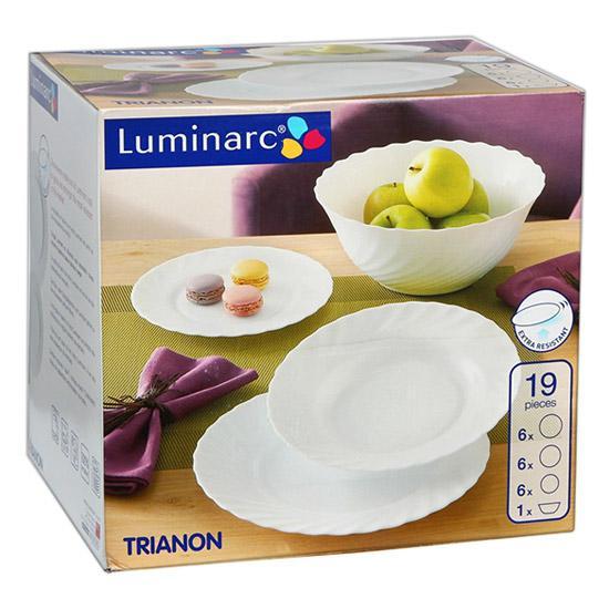LUMINARC OPÁL, Trianon étkészlet, fehér, 19 részes, 503007
