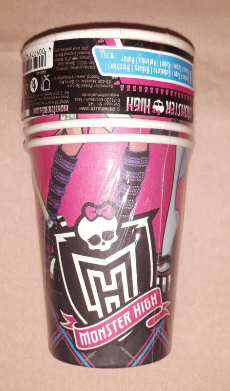 Monster High papírpohár, 250 ml, 8 db,