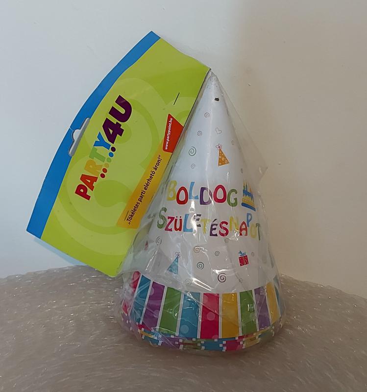 Papírcsákó Boldog születésnapot felirattal, 15 cm, 6 db