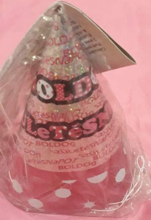 Papírcsákó Boldog születésnapot felirattal, rózsaszín, 16 cm, 6 db
