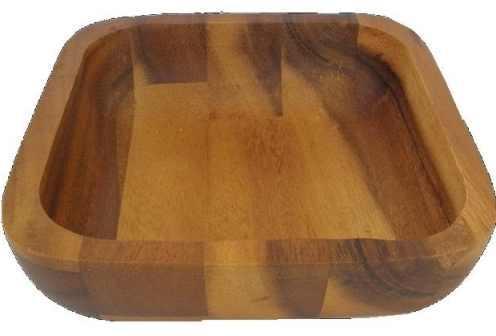 PARAWOOD Fa kínálótál, sötétbarna, szögletes, 25x25x9 cm, 208014