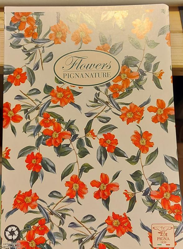 Pigna Nature Flowers nagyalakú sima füzet, 40 lapos,
