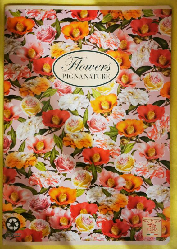 Pigna Nature Flowers nagyalakú vonalas füzet, 40 lapos, bazsarózsa