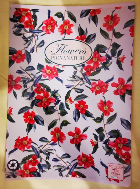 Pigna Nature Flowers nagyalakú vonalas füzet, 40 lapos, hibiszkusz