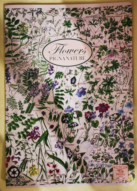 Pigna Nature Flowers nagyalakú vonalas füzet, lapos, mezei virágos
