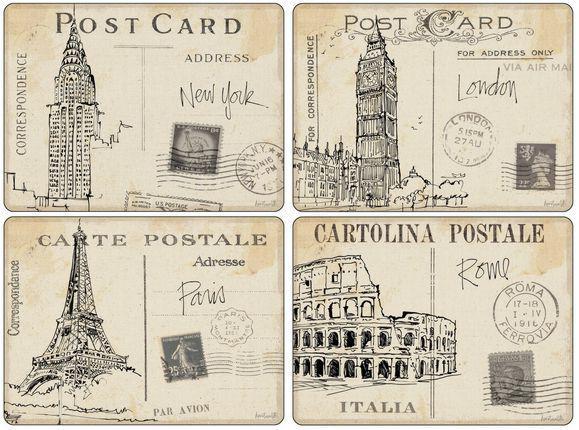 Pimpernel parafa tányéralátét, Postcards ( Képeslapok), 40X30 cm, 4 db, 319002