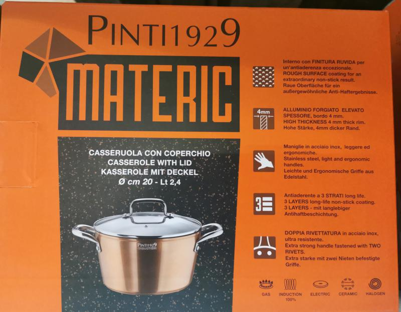 Pintinox Materic bevonatos-indukciós lábos+üvegfedő, rm. nyéllel, 20 cm, 144781