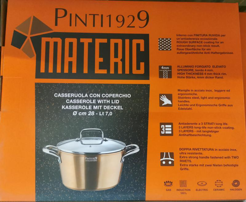 Pintinox Materic bevonatos-indukciós lábos+üvegfedő, rm.nyéllel, 28 cm