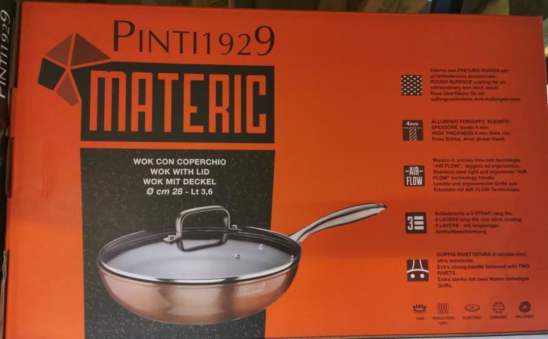 Pintinox Materic indukciós-bevonatos wok+üvegfedő rm. nyéllel, 28 cm, 144786