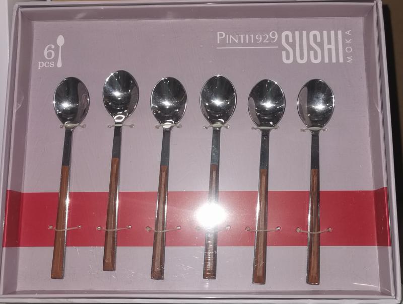 Pintinox Sushi Mahogany rozsdamentes mokkáskanál szett, 6 db,