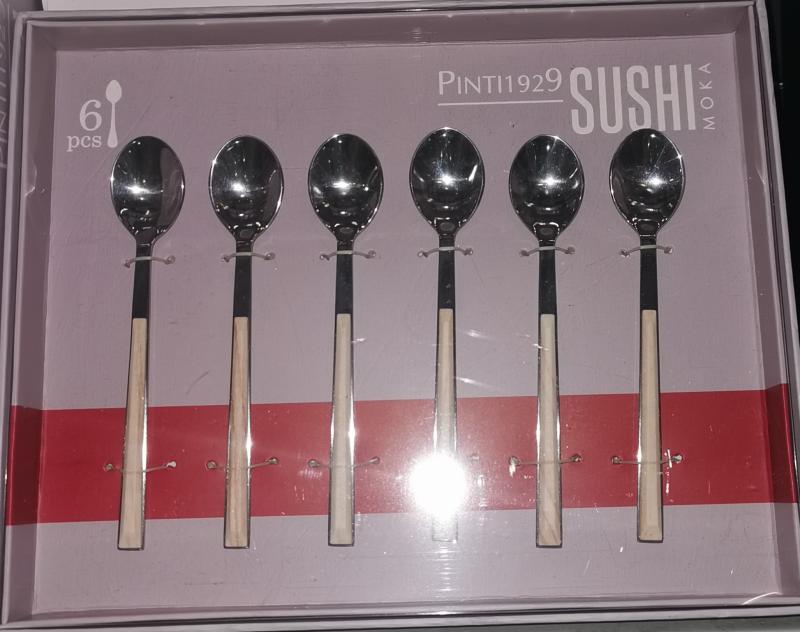 Pintinox Sushi Moka Birch (nyír) rozsdamentes mokkáskanál szett, 6 db