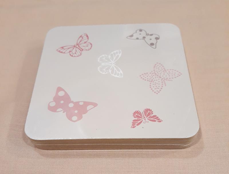 Pohár alátét, parafa, pillangó mintás, 9X9 cm, 4 db, P10