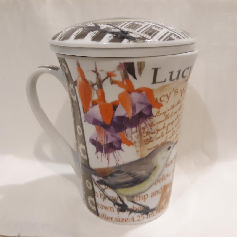 Porcelán bögre+szűrő+tető 37 cl, madaras, Lucy's  Warbler, 231080