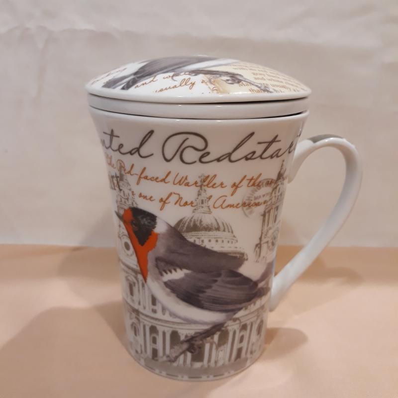 Porcelán bögre+szűrő+tető 37 cl, madaras, Painted Red, Gyógyteás bögre,231080C