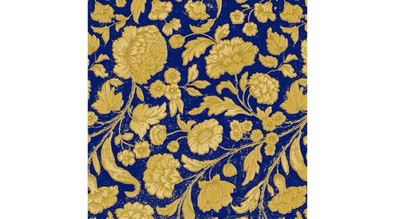 PPD.C1333115 George V.embossed gold/blue dombornyomott papírszalvéta 33x33cm,15db-os