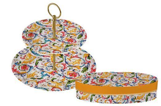 PPD.N603462 Porcelán süteményes állvány D19.5xH25cm,Fiorentina, Tassotti design